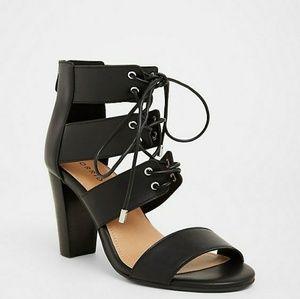 Black Cage Heel Sandal (Wide Width)
